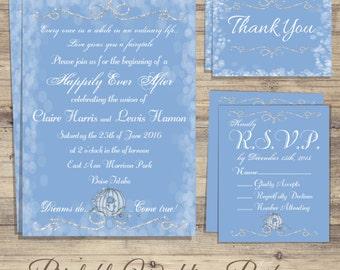 Cinderella, Wedding Invitation Kit, cinderella wedding Invitations, Cinderella Save the Date, fairytale wedding invitation, rsvp