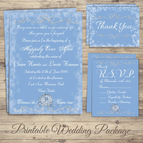 Cinderella Wedding Invitation Kit cinderella wedding – Cinderella Wedding Invitation