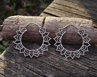 LOTUS FLOWER. Hoop earrings ethnic style. Silver plated earrings.