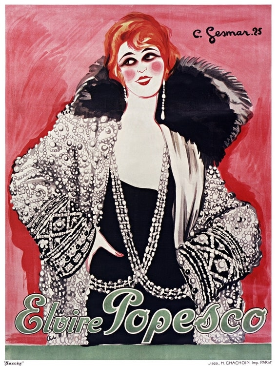 Paris Girly Girl Fashion Poster, Vintage French Movie Star Print.