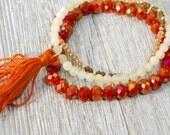 Orange Tassel Bracelet, Yoga Jewelry, Friendship Bracelets, Boho Style Bracelet Set, Fall Tassel Bracelet, Stacking Bracelet, Christmas Gift