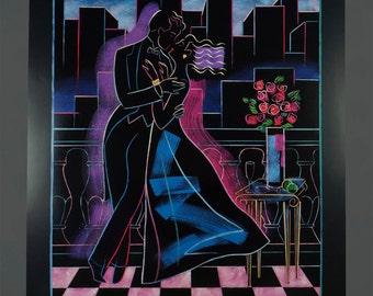 1990 Poster Keith Mallett Midnight Kiss Signed by Artist