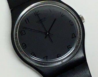 Vintage Swatch Watch Blackout GB105 1985 Black