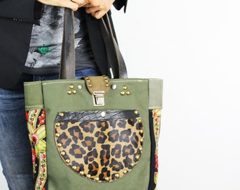 Military Canvas and Leather Tote Bag/Upcycled Military Canvas Bag with Leopard Pony Skin/Military Shoulder Bag Exterior Pocket – IreneEC14