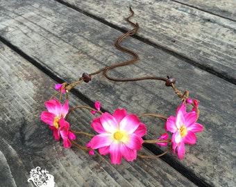 Hippie flower crown in pink // Flower headband halo crown for a hippie festival, or wedding hair accessory // Flower Crown // Hawaiian Crown