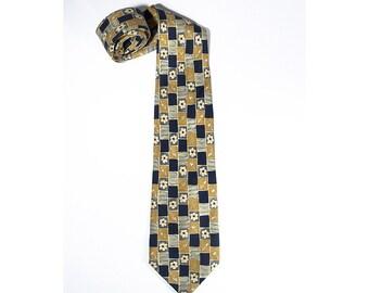 Per L'Uomo Necktie, French Armand Thiery Silk Tie, Flowery Floral Pattern Navy Blue Yellow Neck Tie