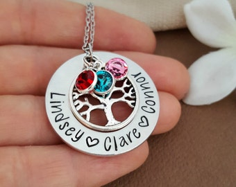 Family Tree Necklace For Mom | Family Tree Necklace For Grandma | Personalized Birthstone Family Tree Necklace
