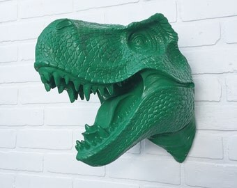 Emerald or ANY COLOR XL T Rex Head Dinosaur Wall Mount // Faux Taxidermy // Jurassic Park // Animal Sculpture // Boy's Room // Trophy Mount