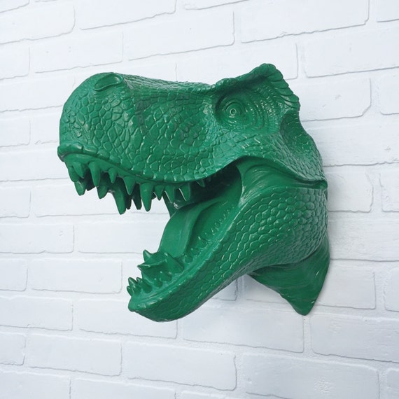 Emerald Or Any Color Xl T Rex Head Dinosaur Wall Mount Faux