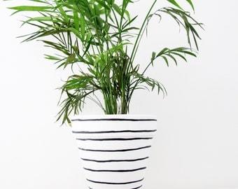 Hand Painted Plant Pot - Large Stripe