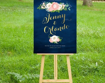 The JENNY . Welcome Wedding Printed Sign . Gold Calligraphy Navy Chalkboard Pink Peony White Rose Ranunculus . Paper . Foam Board . Canvas