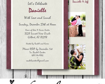 Any Color Bridal Shower Invitation, Photo Collage, Ivory, Maroon, White, Modern - Wedding, Baby Shower, Couples, Birthday -Digital & Printed