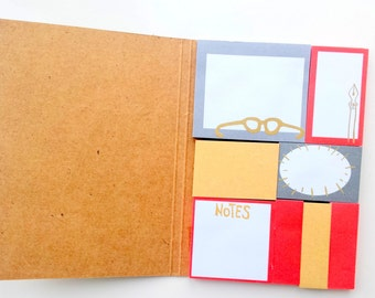 Sticky Notes in a kraft booklet (gold foil detailed front) , set of 8 different designs