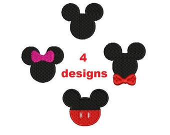 4 designs Small Mini Mickey Minnie ears filled embroidery patterns Machine embroidery designs Digital Download