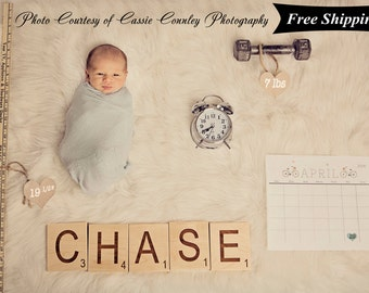 Scrabble Letters Large Individual Scrabble Tiles, Photography Prop, Birth Announcement, Crossword Wall Décor - Engraved Solid Wood