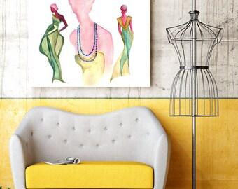 """Giclee Print of """"3 Ladies"""" - Watercolor Painting by Naama Ben-Daat (Behance.net/ErgoNaama)  - Giclee Art Poster - Watercolor Illustration"""