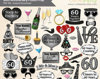 60th Anniversary Party Photo Booth Prop, Sixtieth Wedding Anniversary Party Printable, Diamond Wedding Anniversary Party Printable