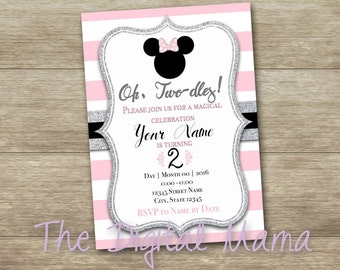 Minnie Mouse 2nd Party Invitation - Minnie 2nd Birthday Invitation - 5x7/4x6 Girl Birthday Party Invitation - Personalized Digital Download