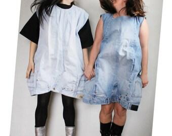 FREE SHIPPING! Denim upcycled dress/ One Size