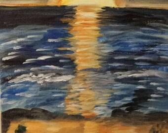 Art, Sunset painting on canvas, Sunset art on canvas, Beach acrylic painting on canvas