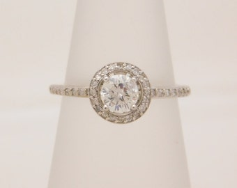 1.00 Carat T.W. Halo Setting Round Cut Diamond Engagement Ring 14K