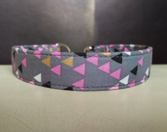 "Tag Clip Collar - Whippet, and Small to Large Dog - House Collar - 3/4"" width - Pink & Gold Triangles"