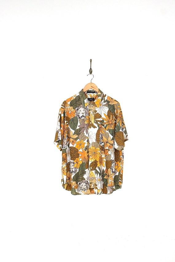 90s christian dior tropical safari button up shirt 90s for Christian dior button up shirt
