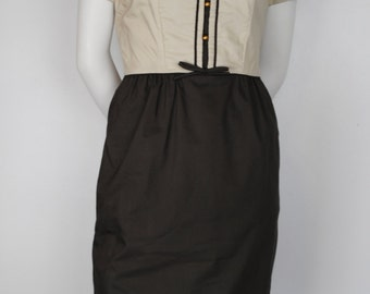 Vintage 60s Mini Dress - 1960s Cotton Day Dress / Work Dress