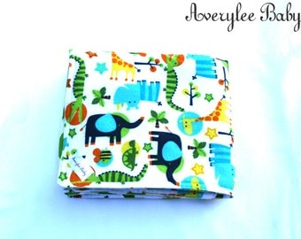 Jungle Baby Blanket, Jungle Animals Baby Blanket, Stroller Blanket, Baby Shower Gift, Baby Blanket, Green Chevron Baby Blanket, Zoo Animals