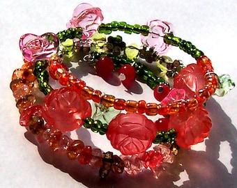 Peach Roses Bracelet