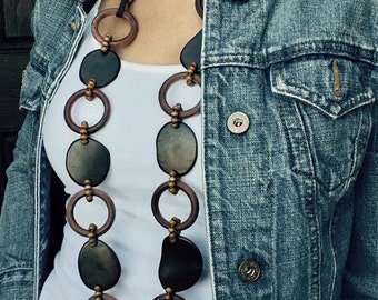 Tagua and Wood Necklace, Long Necklace, Boho Necklace, Tagua Jewelry, Wood Jewelry, Boho Jewelry