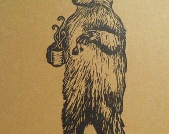 "Bear Making Tea- 5"" x 7"" Linocut Print"