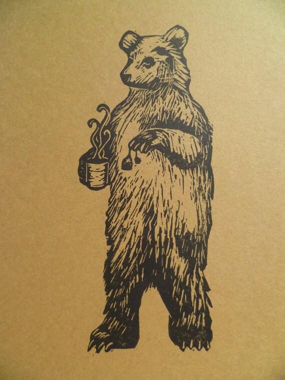 Bear Making Tea 5 X 7 Linocut Print