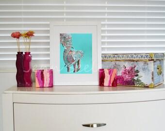 NEW Mom and baby elephant art print, elephant nursery, colorful elephant, elephant painting, elephant art, giclee print