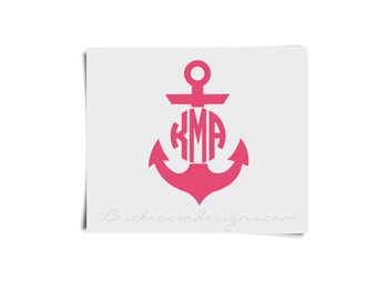 Corkcicle Monogram Decal Monogram Decal For Corkcicle - Anchor monogram car decal
