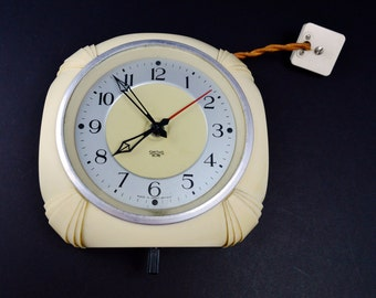 1930s Smiths Sectric Clock Cream Bakelite Clock Electric Clock Lounge Clock Kitchen Clock Home Decor Horology Analogue Electric Clock