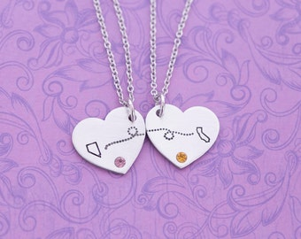 Long Distance Friendship - Long Distance Relationship - Necklace Set - Hand Stamped Jewelry - Engraved Jewelry - Custom Engraving