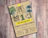 Where the Wild Things are Birthday Invitation, First Birthday, Wild One, 1