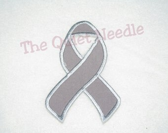 Gray Brain Cancer Awareness Ribbon Iron On Applique Cancer Survivor Patch Grey Fabric Sew On Applique Tutu & Shirt Supplies Made To Order