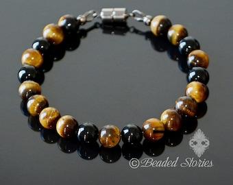 Mens bracelet Crystal bracelet Energy bracelet Spiritual bracelet Onyx & Tiger's Eye bracelet Black and brown bracelet Birthday gift for dad
