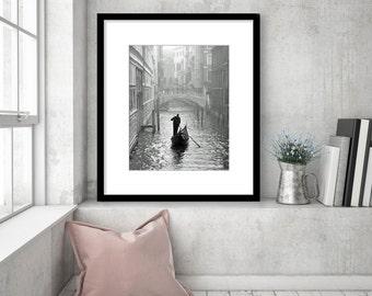 Venice Photography, Black and White Wall Art, Gondola Boat, Travel Photo, Italy Print, Canal, dreamy, foggy, romantic, Europe Decor,