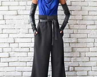 Black Maxi Pants/Loose Long Trousers/High Waist Pants/Black Casual Pants/Wide Leg Pants/Oversize Long Pants/Black Belted Pants/Black Pants