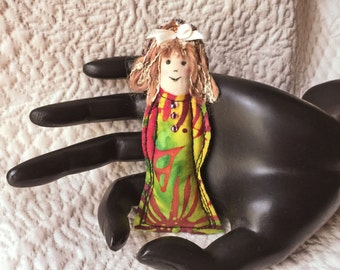 Fiber Art Doll pin, Fabric doll pin, Diva Dolly pin, textile pin, doll brooch, fiber pin, fabric doll brooch, Dolly pin #5