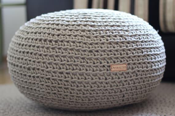 Organic crochet pouf linen pouf knit pouf floor cushion - Knitted pouf ottoman pattern ...