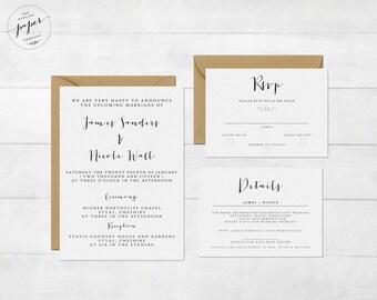 Printable Wedding Invitation Set - Invitation - RSVP Card - Details Card - DIY Wedding - The 103 Collection Design - Wedding