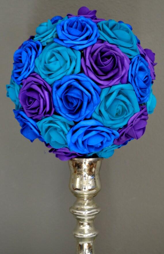 Peacock wedding flower ball centerpiece purpleteal