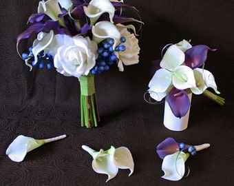 Purple, white / off-white, silver, Bouquet and Groom boutonniere Set, Real Touch flowers, Silk Wedding Flowers, calla lilies, roses