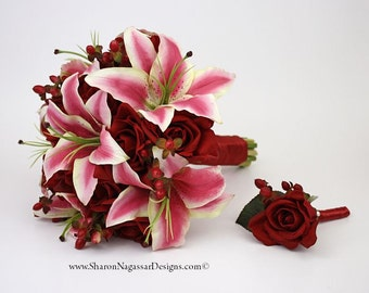Red/deep, pink/deep/hot, fuchsia, white, bouquet, Real Touch flowers, silk, wedding, flowers, rose/roses, berries, oriental, lily/lilies