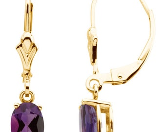 Lovely 14k Yellow Gold Amethyst Gemstone Dangle Earrings, 1.52 CTW, February Birthstone Gift