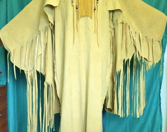 Leather Dress, Suede Finish-Native American Style Long, Fringed Dress, Gown with Beaded Deerskin Necklace